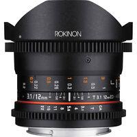 Rokinon 12mm T/3.1 Full Frame Cine Ds Fisheye Lens F/video Dslr Canon Eos Camera