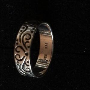 Details zu süßer Silberring mit Gravuren für Damen BEE Punze + 925er Silber Punze 18 mm