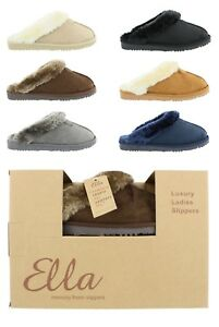 c27698773508e Women s Ella Jill Luxury Faux Fur Lined Memory Foam Mule Slippers