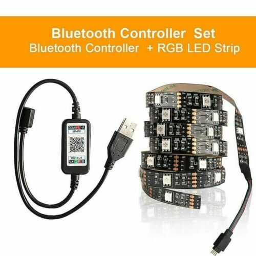RGB 5050 LED Strip Lights Music Bluetooth App Remote Cabinet TV Backlight Lamp
