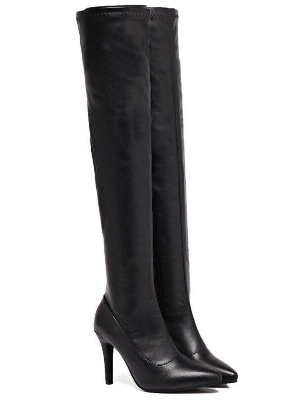stivali stivaletti nero ginocchio coscia 9 cm comodi stiletto simil pelle 9329