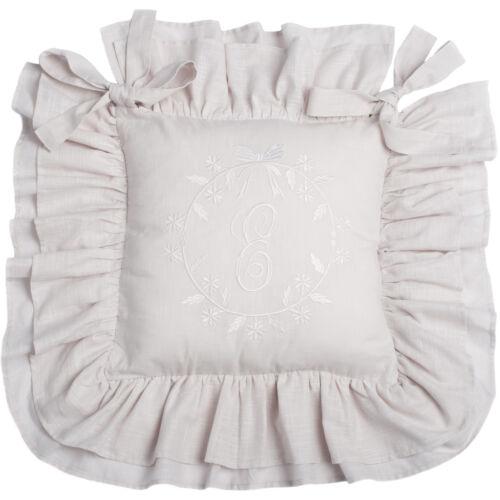 Elvira cemento blanco bordado silla almohadón Shabby Chic 42x42 doppelvolant