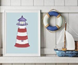 Details About Nautical Nursery Decor Lighthouse Art Print Kids Beach