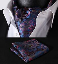 RF408B Blue Pink Paisley Floral Silk Cravat Scarves Ascot Hanky Handkerchief Set