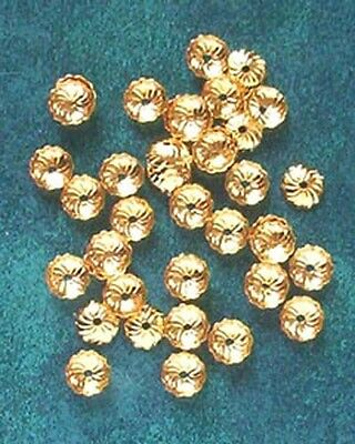 100 gold plated, 7mm diameter, fluted bead caps, findings for jewellery making