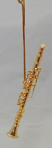 """Clarinet brass gold plated handmade collectible miniature hanging Ornament 3.3/"""""""