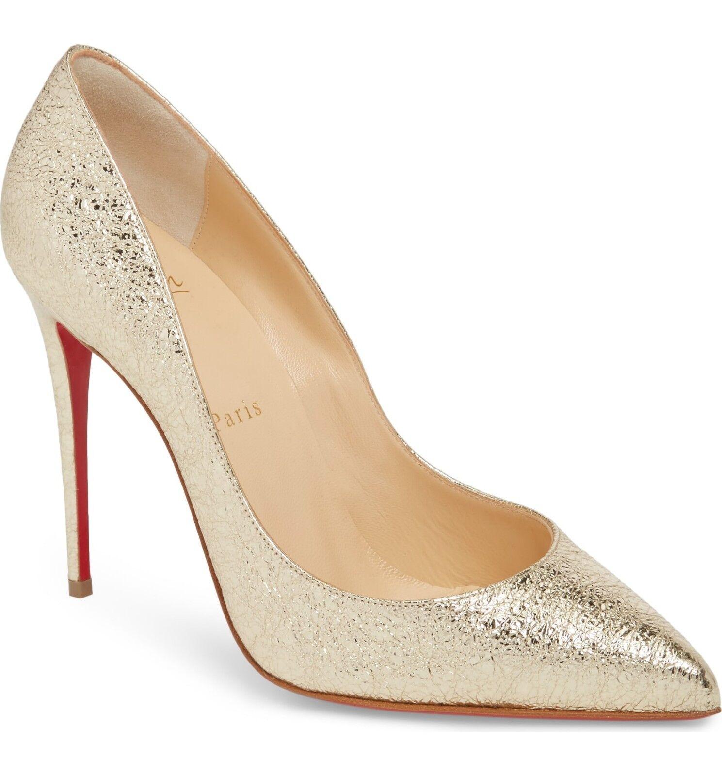 NIB Christian Louboutin  PIGALLE FOLLES PLAIINE oro Leather Pump scarpe 38 -7.5  nuovo sadico