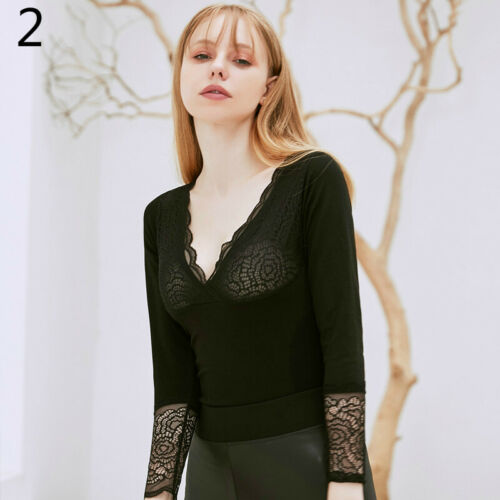 Women Thermal Underwear Lace Fleece Lined Shirts Blouse Thickn Tops Warm V-neck