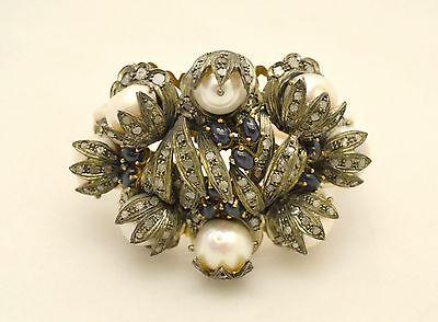 Bracciale vintage anni '50 in oro giallo 14 kt e argento con perle e diamanti