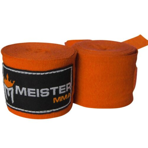 "MMA Mexican Boxing Gloves Wrist MEISTER ORANGE 180/"" SEMI-ELASTIC HAND WRAPS"