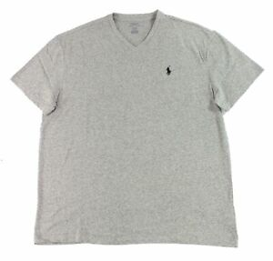 Polo-Ralph-Lauren-Mens-T-Shirt-Heather-Gray-Size-Large-L-V-Neck-Tee-39-080
