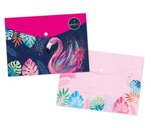 2 Sortiert Pastell Farbe A3 Dokument Mappe Plastik Trage Ordner Pink Aqua Cfy