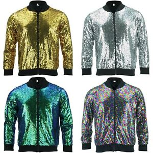 c66cb8d08 Details about Bomber Jacket Shiny Sequin Glitter Sparkling Lame FIREFLY  GOLD SILVER RAINBOW