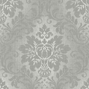 Grandeco Tapete Luxus Koniglich Damast Stoff Grau Silber