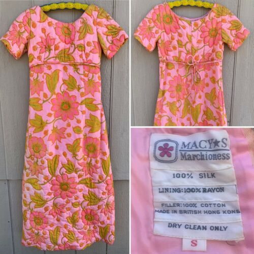 Vintage Macys Marchioness Quilted Silk Dress Loung