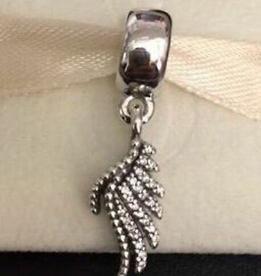 ROYAL FEATHERS DANGLE 925 Sterling Silver Solid Dangle Charm Bead Bracelet