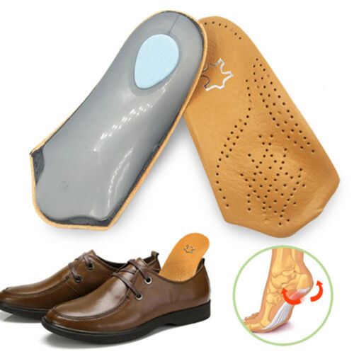 3//4 Length Leather Insole Flat Foot Orthotic Insoles Arch Support Half Shoe Pad