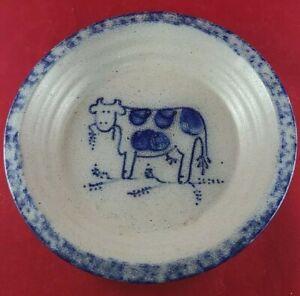 Eldreth Pottery Stoneware Salt Glazed Cow Dish Pie Plate