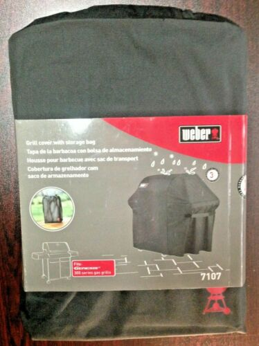 New Weber Grill Cover With Storage Bag 7107 Fits Genesis 300 Series Gas Grills