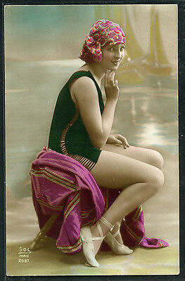 French 1920s Hand Tinted BATHING BEAUTY Deco Style In The Studio #7 PARIS Latest