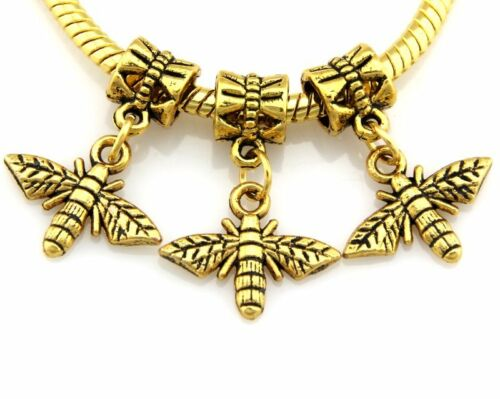 25x 50x Antique Gold Mixte cœur éléphant Fleur Dangle Charms Fit Bracelet JH06
