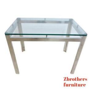 Vintage-Mid-Century-Aluminum-Chrome-Floating-Lamp-End-Table