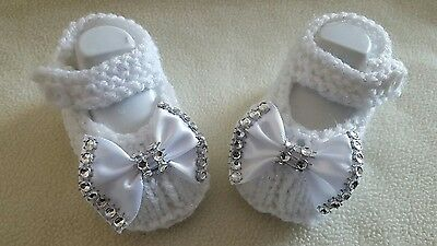 Hand Knitted Romaní Bling Bebé Niñas Botines/Zapatos brillo blanco 0-3