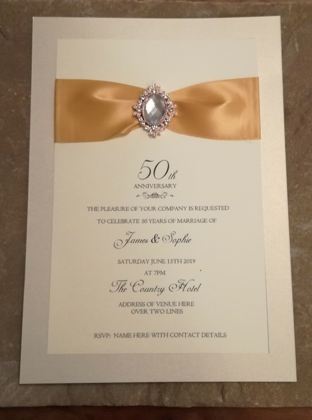 10 X 50th goldEN ANNIVERSARY INVITES WITH ENVELOPES HANDMADE AND PERSONALISED