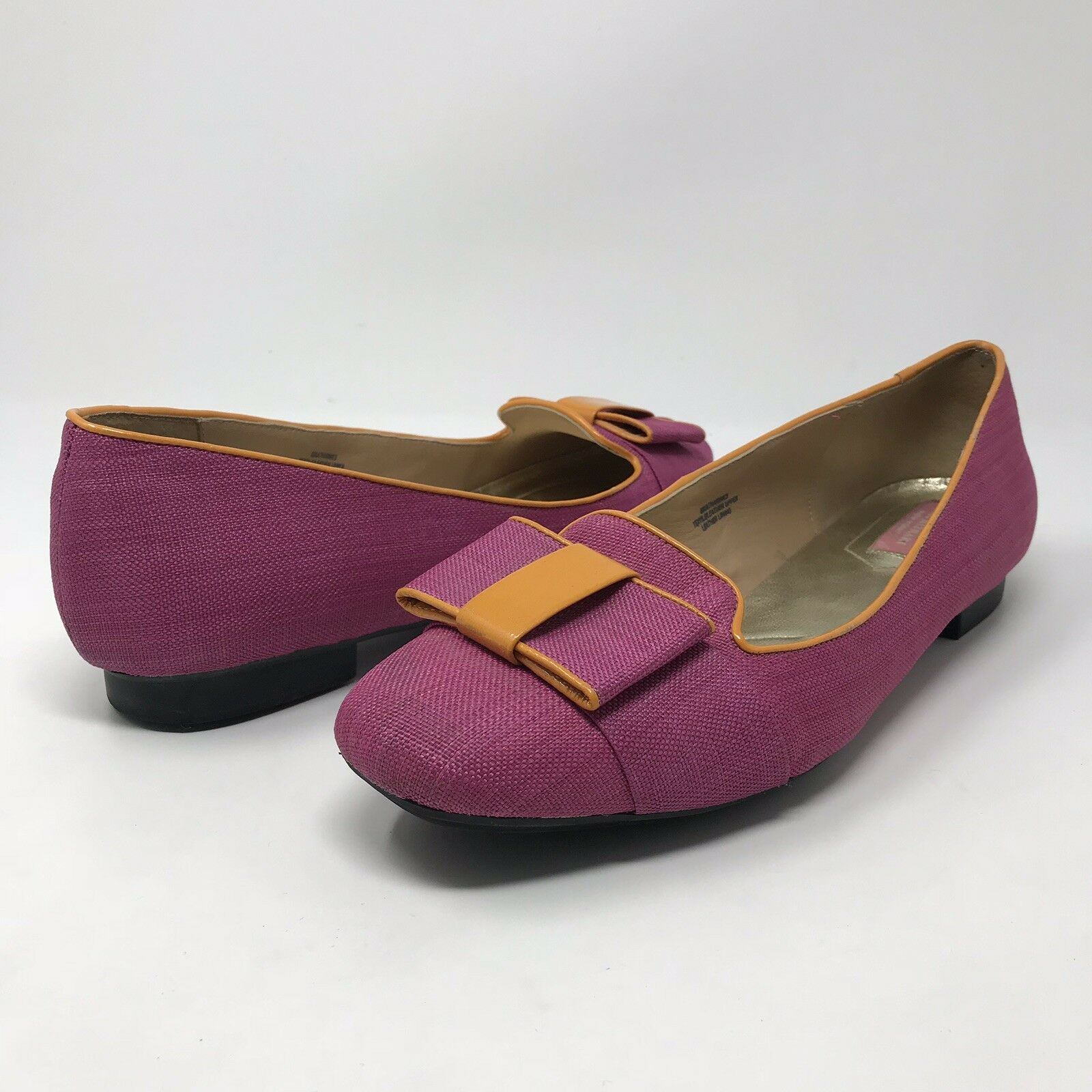 Isaac Mizrahi Katharine Magenta Pink Bow Loafers Slip On Flats Women's Size 10
