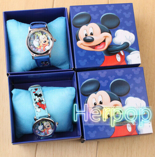 wholesale lovely blue mickey Children Wristwatch Watches With Boxes Party Favors