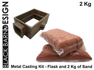 Kit-de-fundicion-de-arena-2-kg-amp-matraz-para-metal-casting-estilo-de-Delft-Oro-Plata-Bronce