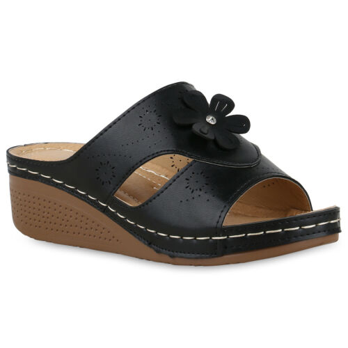 Damen Sandaletten Pantoletten Blumen Strass Cut-Outs Wedge 830695 Schuhe