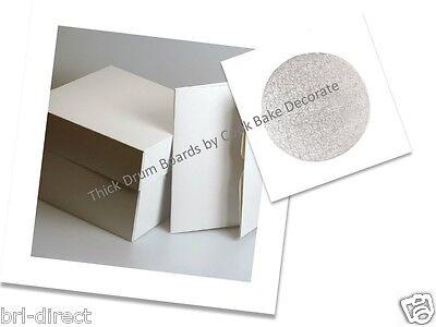 """Cake Box White Drum Board * SET * Square  Round THICK Boards 8"""" 10"""" 11"""" 12"""" 14"""""""
