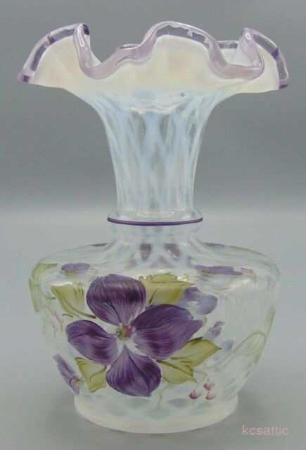 Shelley Fenton Opal Diamond Optic Violets HandPainted Vase Lavender Crest