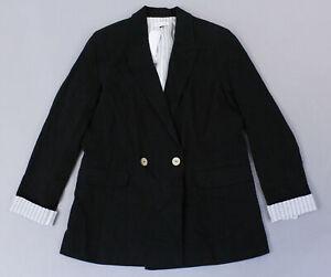 Topshop-Women-039-s-Double-Breasted-Linen-Blend-Blazer-MC7-Black-Size-US-6-UK-10-NWT