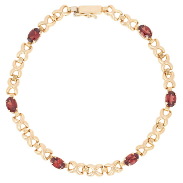 NEW 3.00ctw Oval Cut Garnet Bracelet 7 1/4