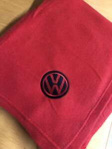 RED-Fleece-Blanket-With-Embroidered-BLACK-AND-RED-Vw-Style-Logo-Campervan-T4-T5