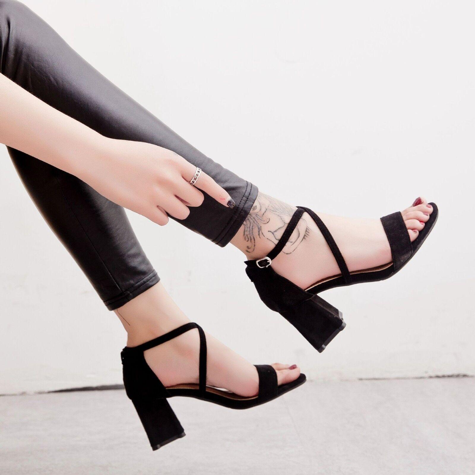 Sandaleeen 5 cm elegant schwarz absatz quadrat Sandaleeen simil leder 1115