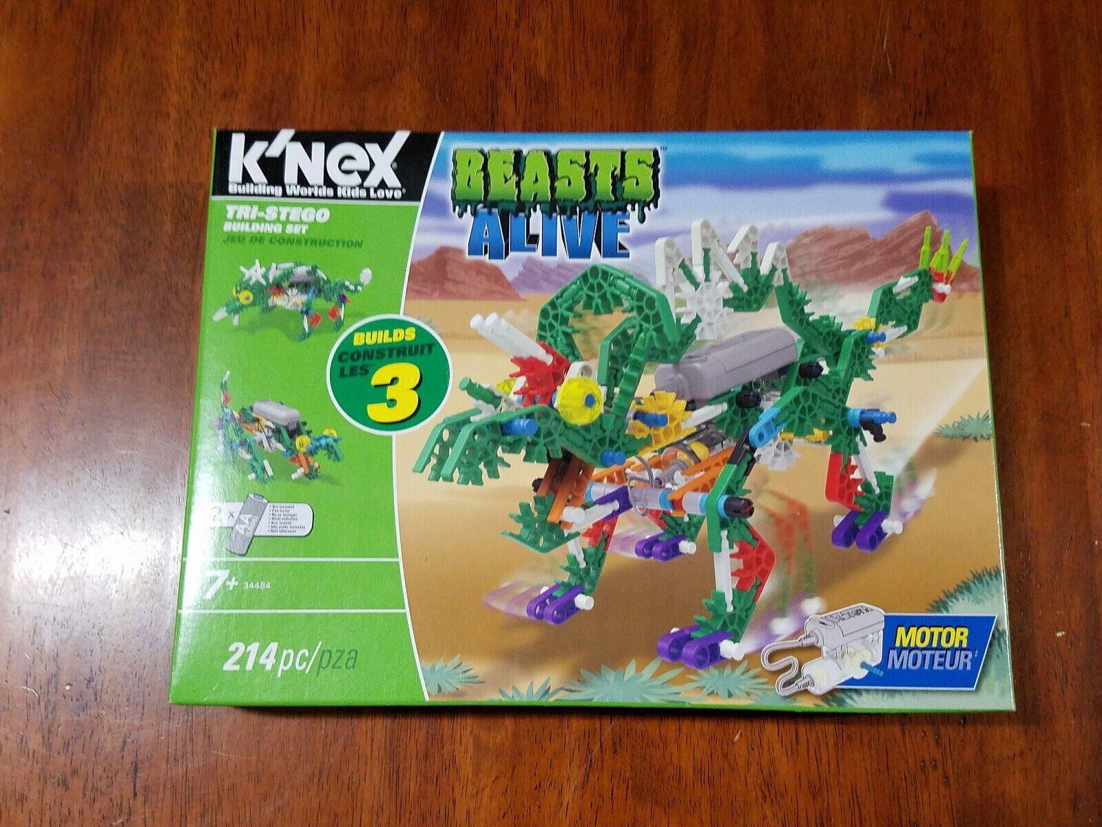 K'NEX Tri-Stego Beasts Alive Building Set Construction Toy Motorized 34484 NIB