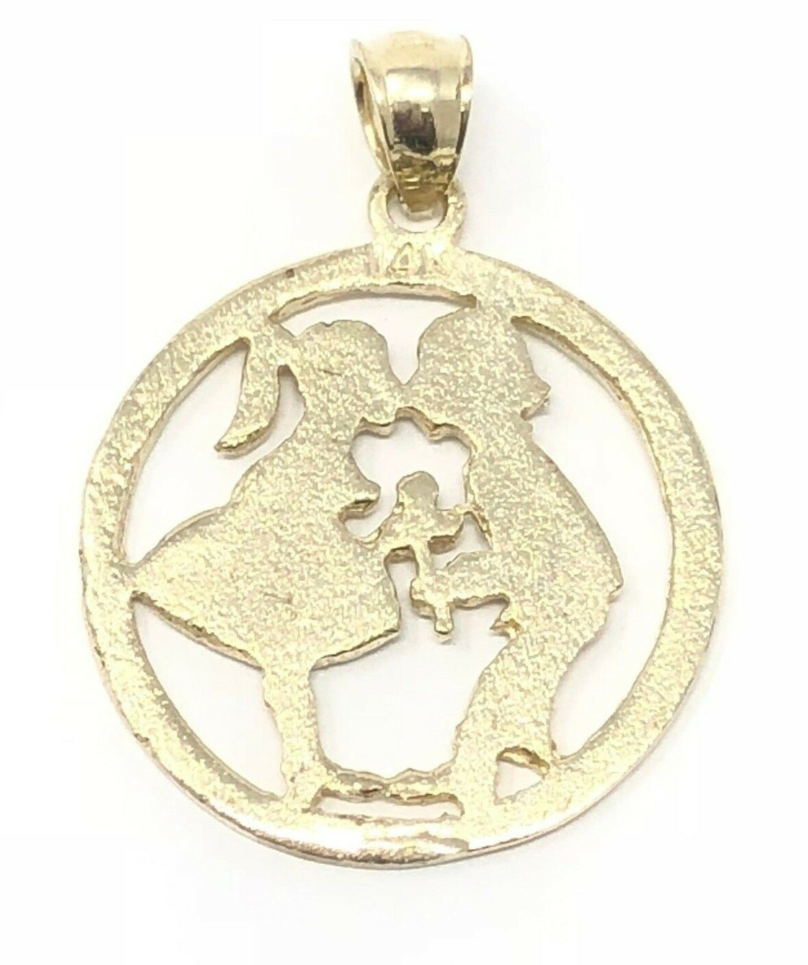 14K Yellow Gold Charm Pendant Themed 17.8 mm 14.2 Kissing Boy And Girl
