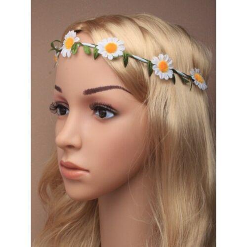 .GIRLS WHITE DAISY CHAIN ELASTIC HEADBAND BROW HEAD HAIR BAND FESTIVAL 70s BRIDE