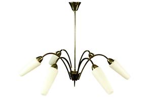 Decken Leuchte Messing & Glas Stab Pendel Leuchte 6flammig  Vintage 50er 60er