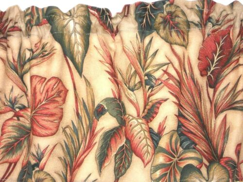 PAIR Tropical Hawaiian 100/% Cotton Barkcloth Fabric CAFE/' CURTAINS ~Copa Cabana~