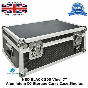 2-X-Vinyl-7-034-Record-Aluminium-DJ-Flight-Storage-Carry-Case-Black-Holds-500-Tough