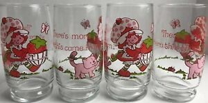Strawberry-Shortcake-Vintage-Juice-Glasses-1980-American-Greetings-1980-Set-Of-4
