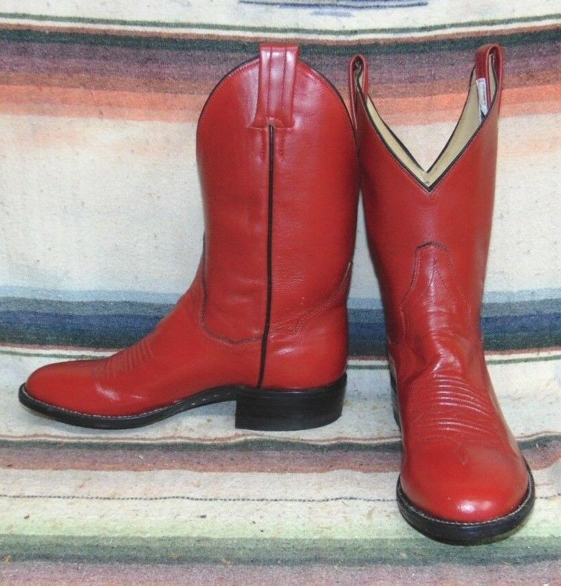 Womens Vintage Panhandle Slim Red Leather Shorty Cowboy Boots 5 1 2 B NEW In Box