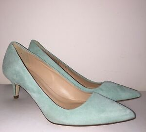 9234e37926 J Crew Dulci Suede Kitten Heels Shoes $198 rustic mint green 6 a9758 ...