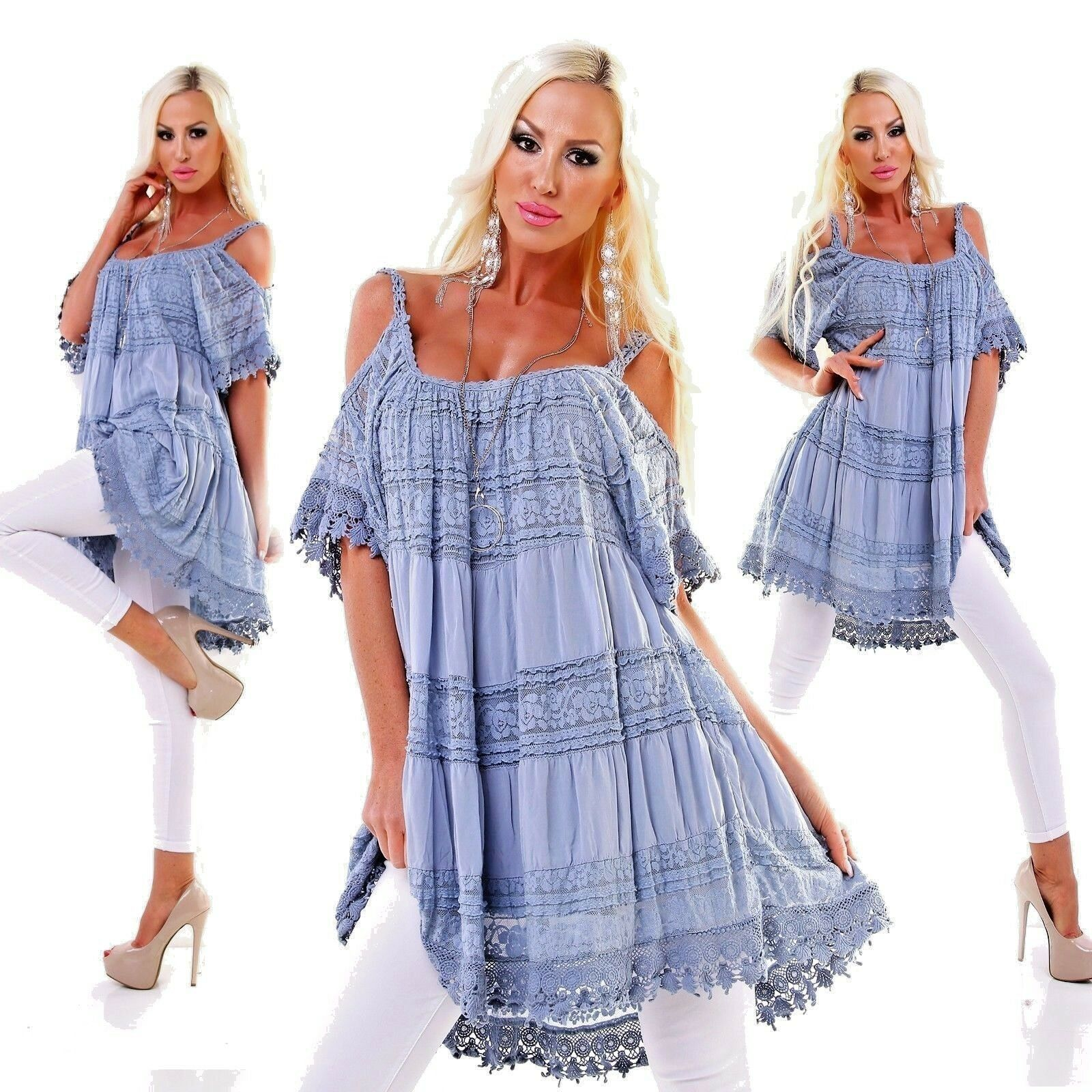 SOMMER Strand LONGBlauSE SPITZEN Tunika Blause MINI KLEID M L XL Long-Shirt Blau