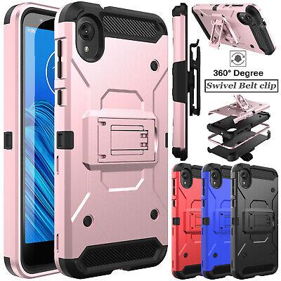For Motorola Moto E6 Phone Case Hybrid Belt Clip Kickstand Holster Armor Cover Ebay