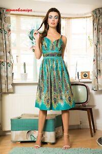 VOODOO-VIXEN-Hattie-Peacock-Evening-Dress-DRA8499-Green-UK-8-16-SS18-Vintage